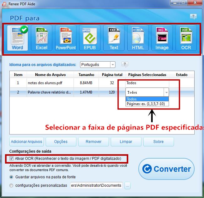 Selecione o formato de os arquivos exportados