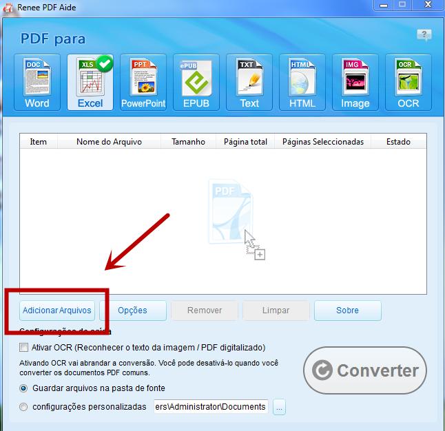 Importar arquivos PDF que deseja converter
