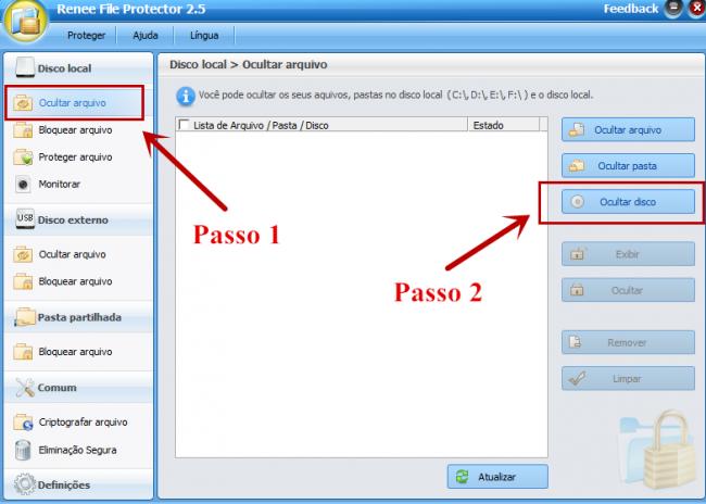 Execute este programa e selecione a função Ocultar discos.