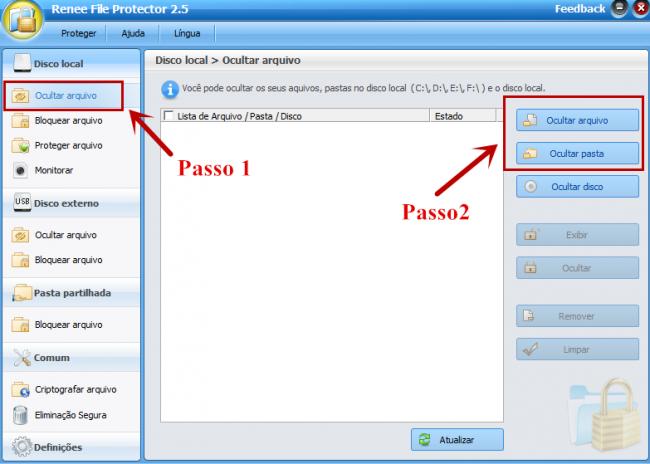 Passo 1 : Execute o programa e selecione as funcões Ocultar arquivo,