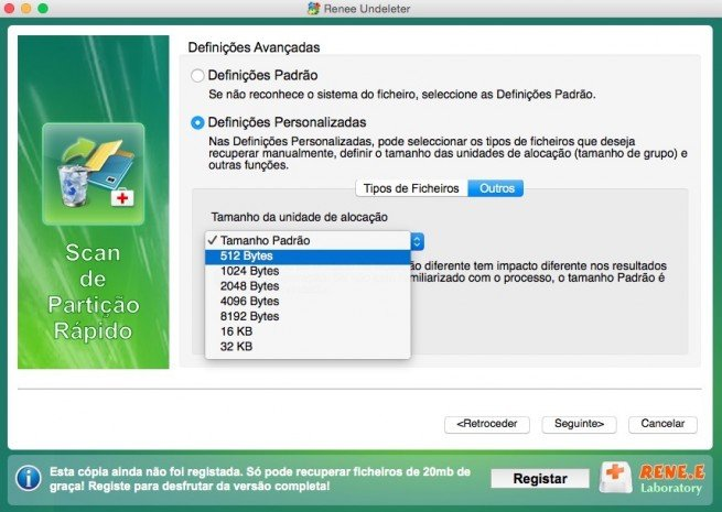 "Selecionar ""512 Bytes"" Mac"