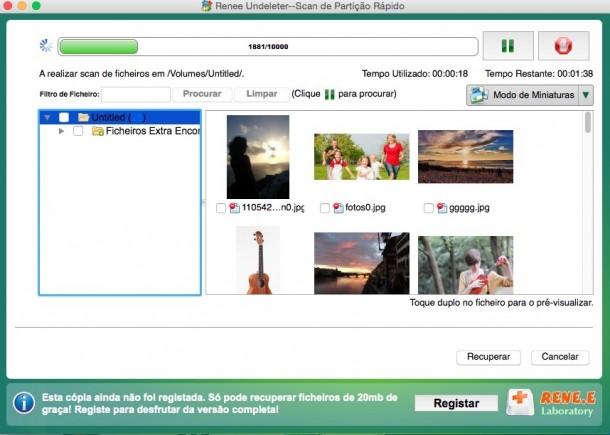 Pré-visualizar os arquivos digitalizados e recuperar os arquivos mac