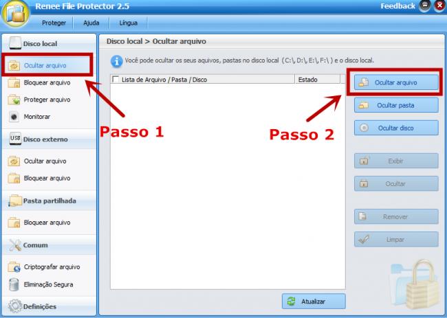 selecione as funcões Ocultar arquivo, e adicione ou arquivos PDF.