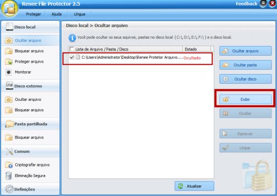 exibir arquivos PDF ocultados