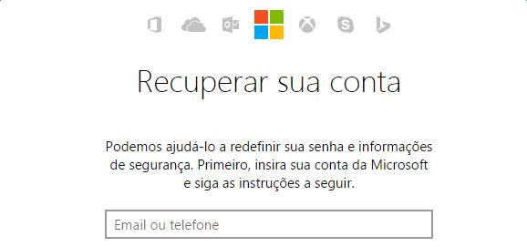 redefinir senha de contas da Microsoft