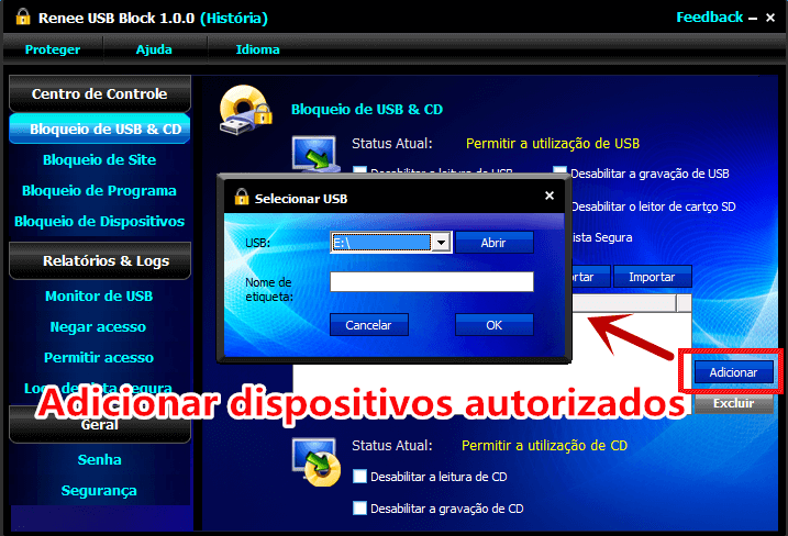 adicionar dispositivos USB