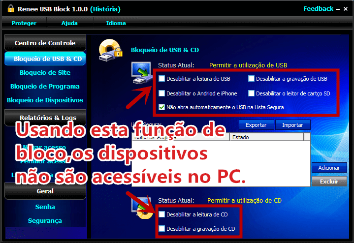 bloquear usb cd