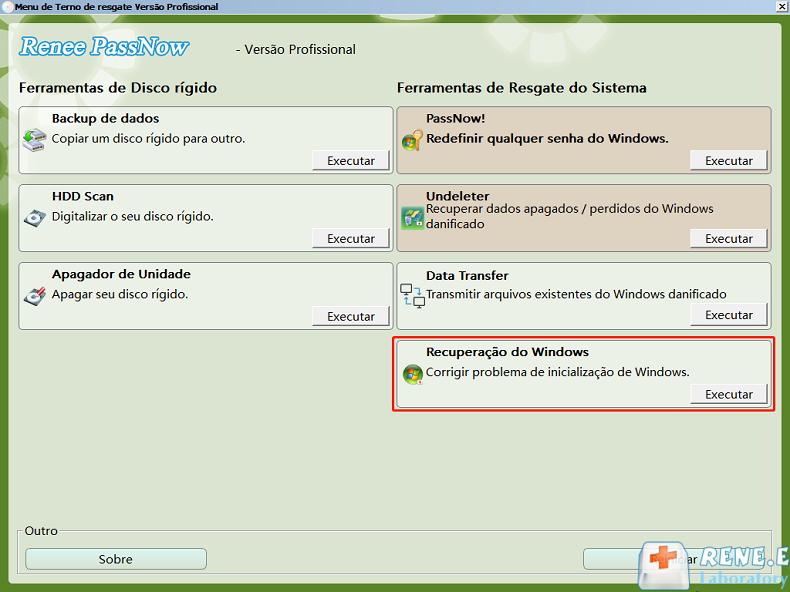 recuperação de Windows