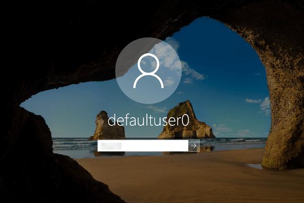 Conta de Windows 10 defaultuser0