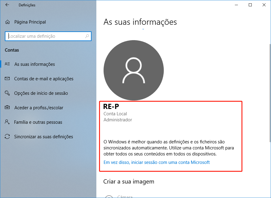 conta local de windows 10