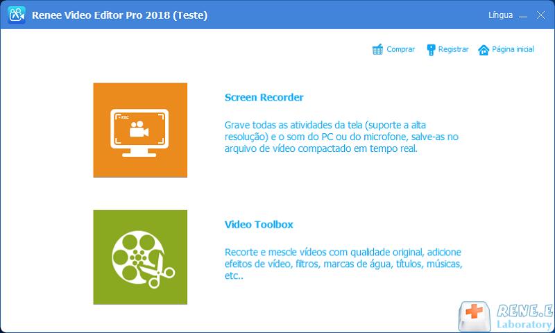 início de Renee Video Editor Pro