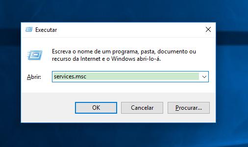 digite services.msc