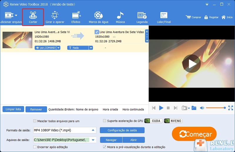 clique em Cortar na interface de software