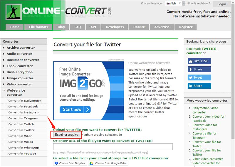 Online webservice converter