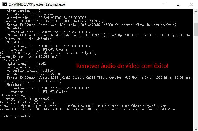 Remover áudio de vídeo com êxito