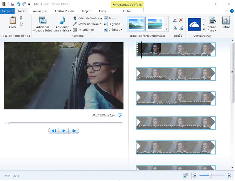carregar vídeo no Windows movie maker