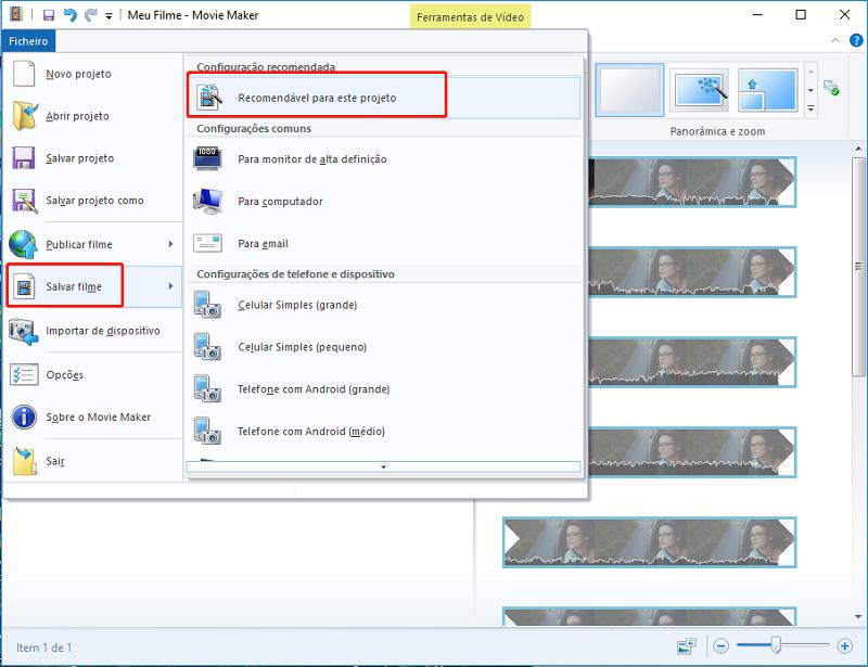 salvar o vídeo com Windows movie maker