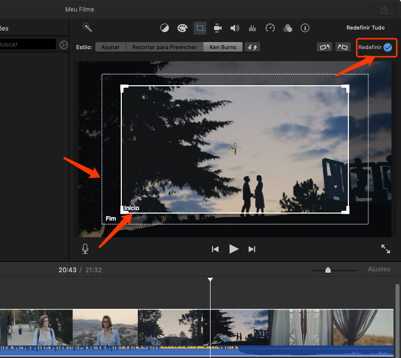 cortar o vídeo com iMovie