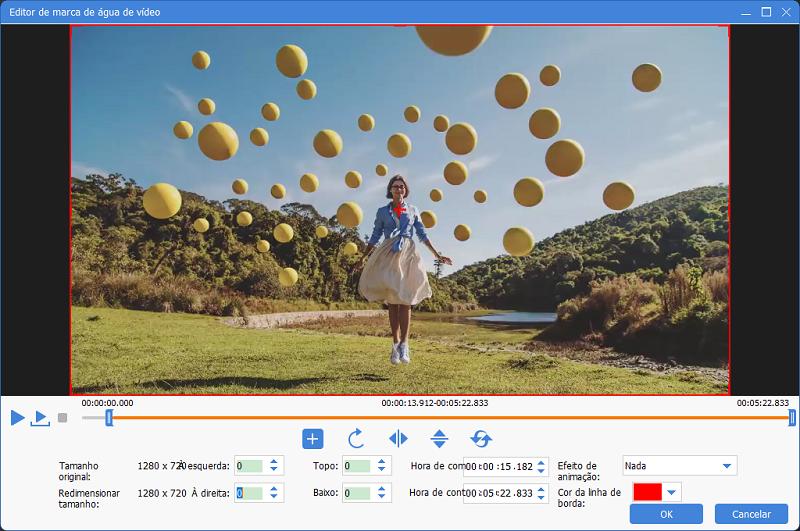as configurações de editar marca d'água de vídeo