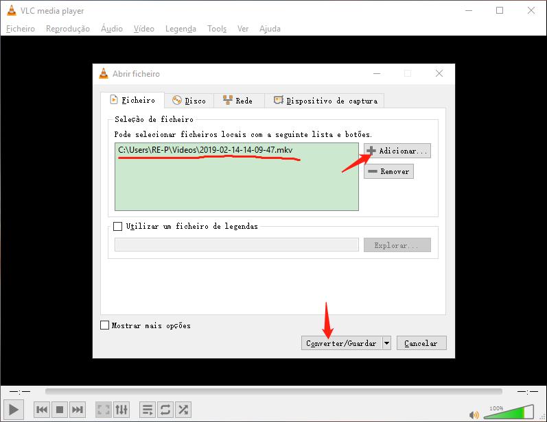 Adicionar arquivo para converter formato