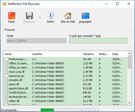 ferramenta SoftPerfect File Recovery