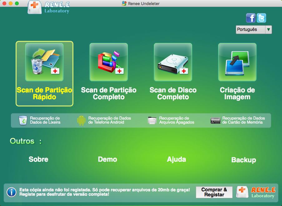 utilize Renee Undeleter para recuperar dados de cartão sd no Mac