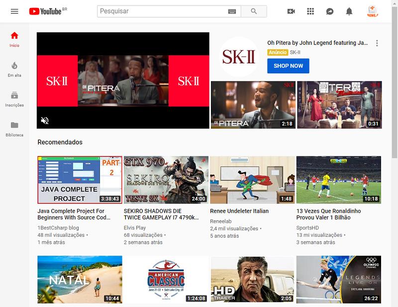 site youtube em portugês