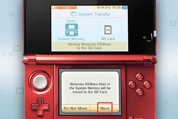 Transferir dados de cartão SD 3DS
