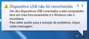 dispositivo USB não foi reconhecido