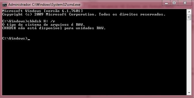 CHKDSK não está disponível para unidades RAW