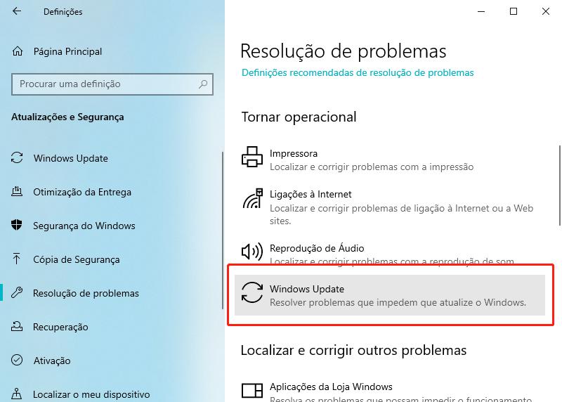 clique em atualização de Windows