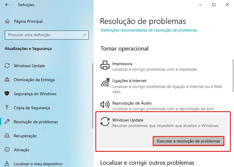 escolha executar a resolução de problemas de windows update