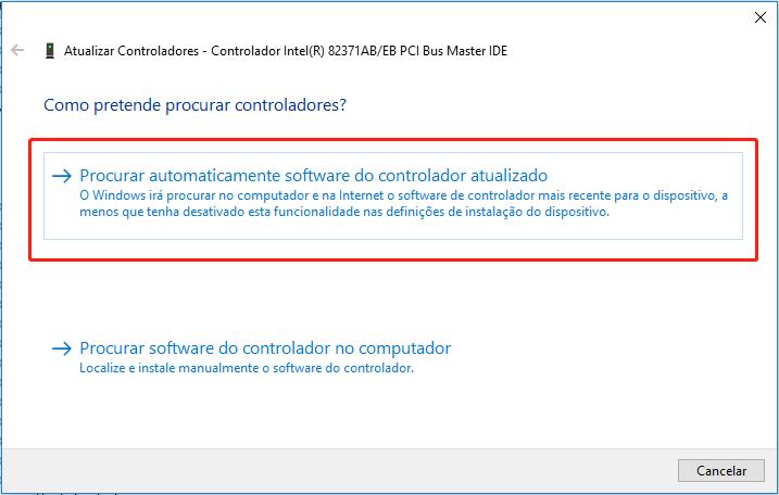 Procurar automaticamente software do controlador atualizado