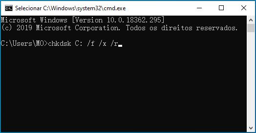 digite o comando chkdsk C: /f /x /r