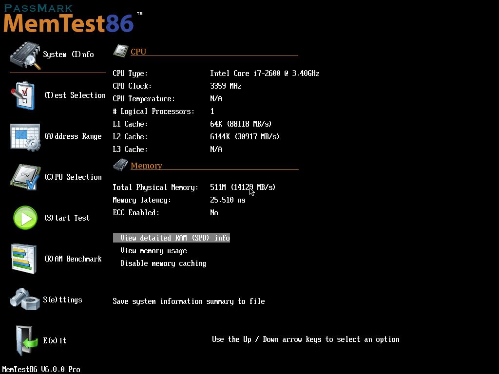 um software de teste de memória