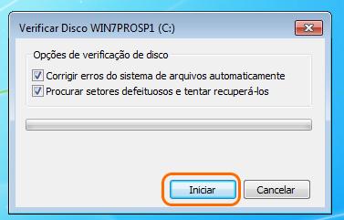 corrigir erros do sistema de arquivos automaticamente