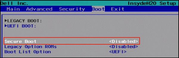 escolha SECURE BOOT