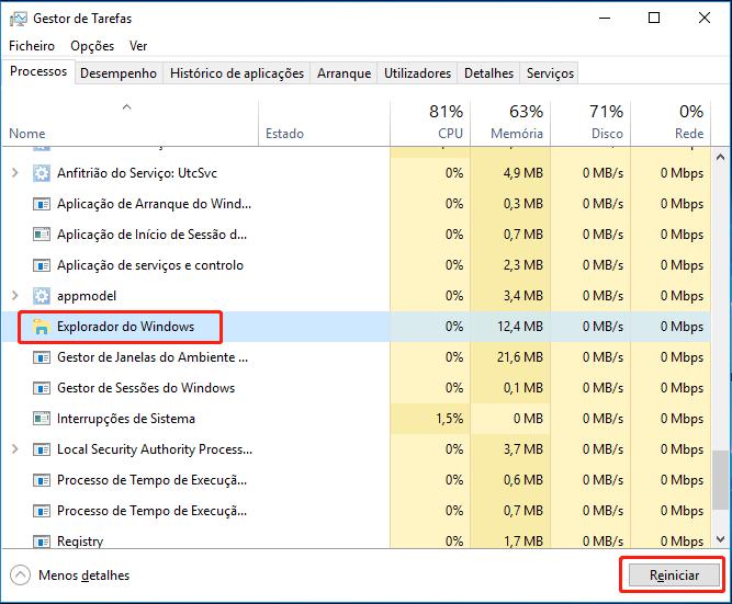 Reiniciar Explorador do Windows