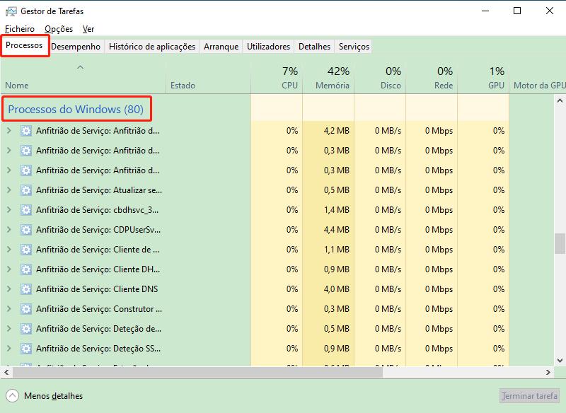 encontrar o processo de Windows
