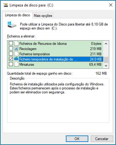 ficheiro temporários de instalação do Windows