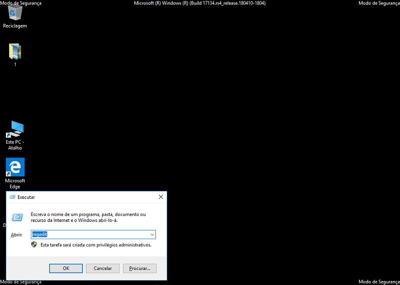 Digite regedit para abrir editor de registro