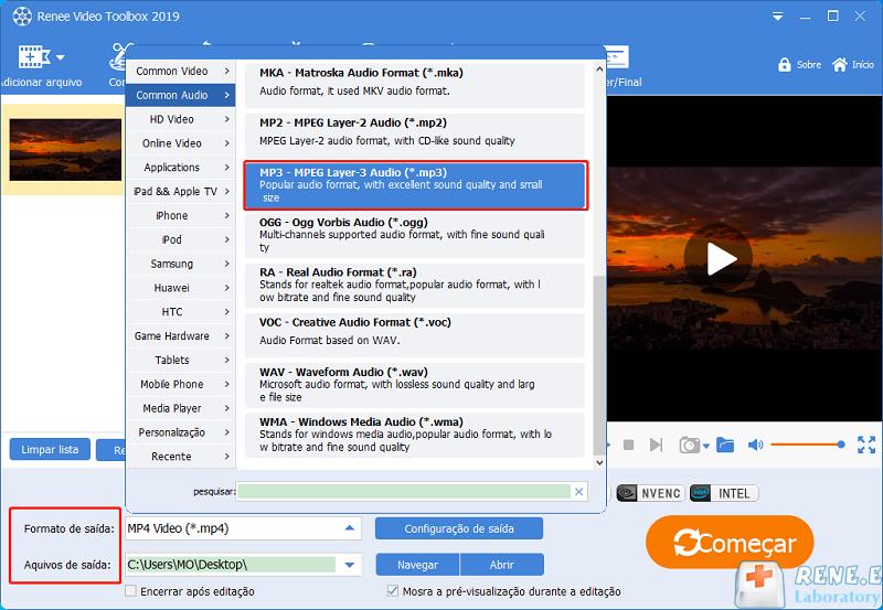 escolha o formato MP3