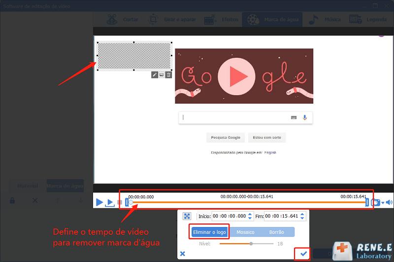 define o tempo de vídeo para remover a marca d'água