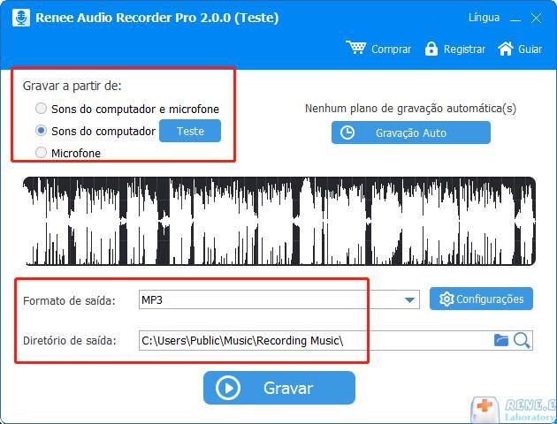 escolha fonte de som e defina formato e localização de saída