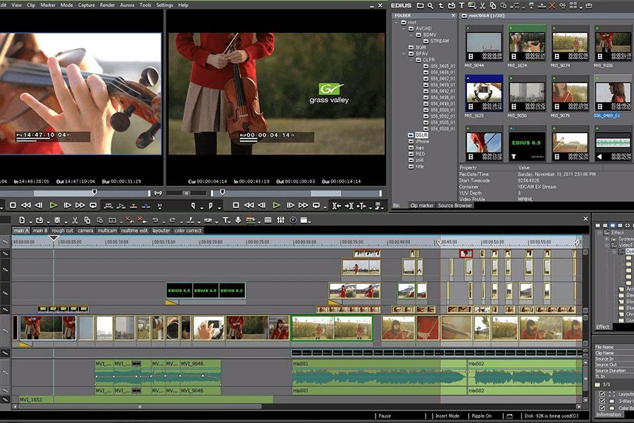 Programa EDIUS para cortar vídeo