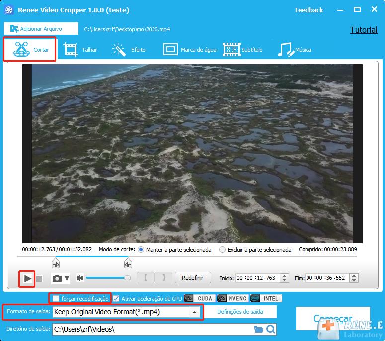 cortar vídeo MKV com Renee Video Editor
