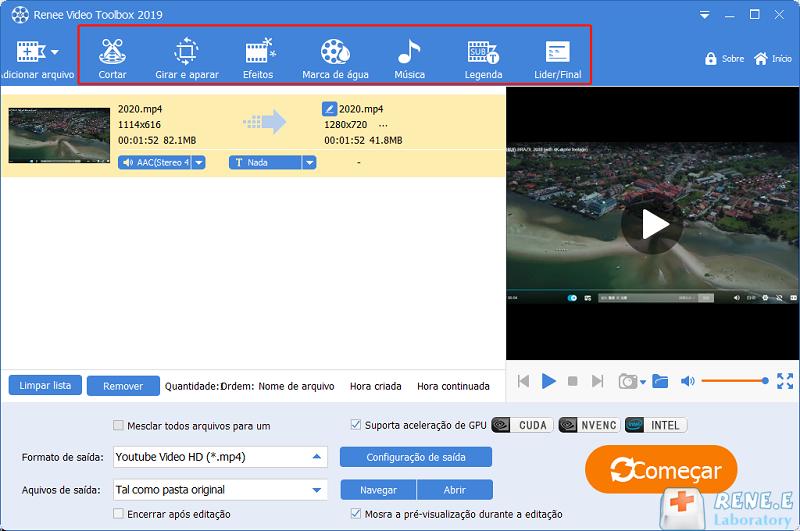 funções de Renee Video Editor Pro