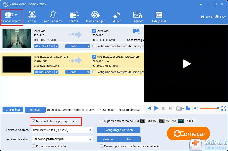 mesclar os vídeos VOB