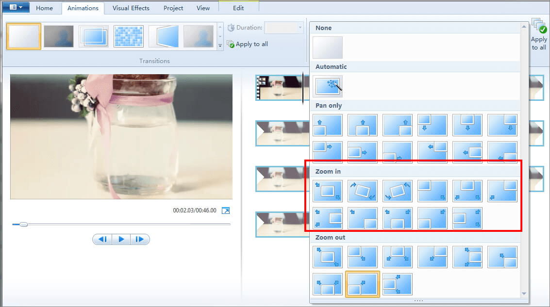 aumentar o zoom com Windows Live Movie Maker