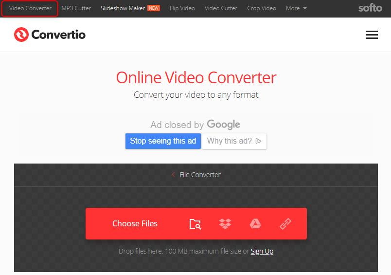 Conversor de arquivos de vídeo online